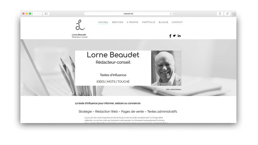 Site web de Lorne Baudet fait avec WebSelf